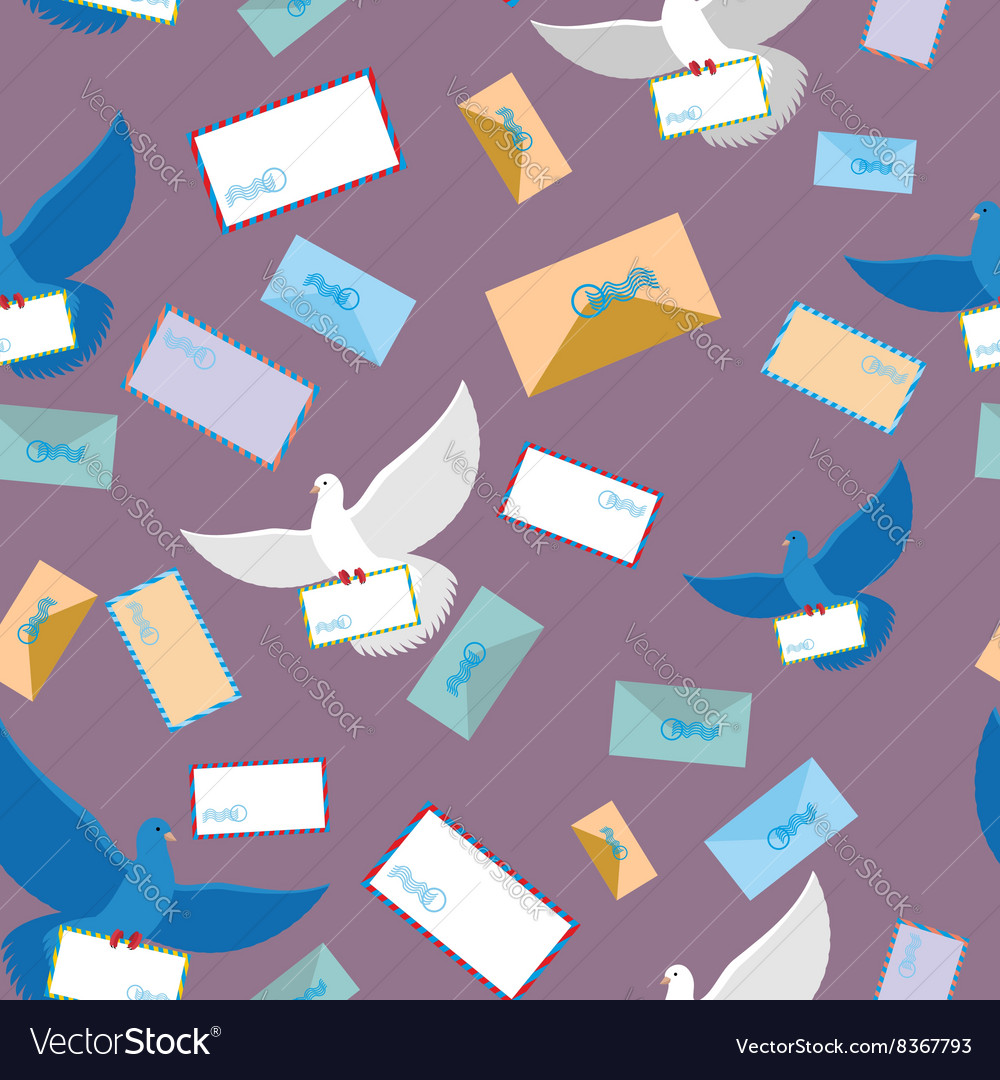 Postal pigeon dove seamless pattern envelope and vector