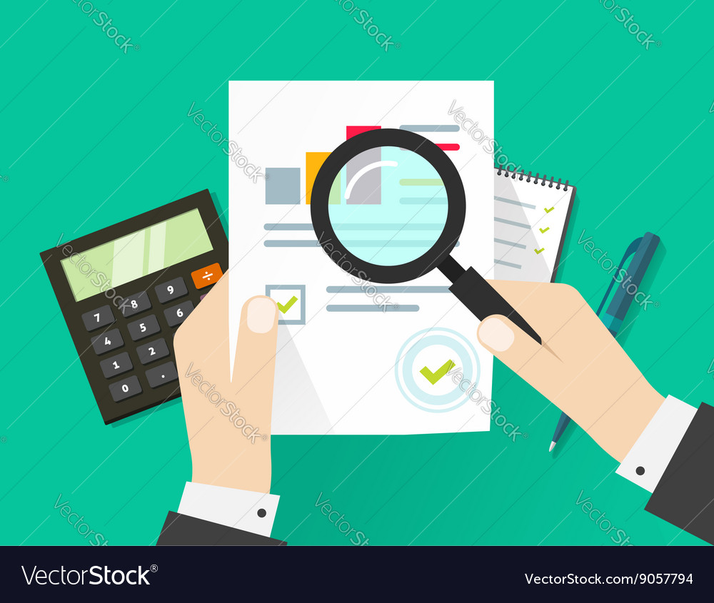Financial audit auditing tax process paper sheet vector