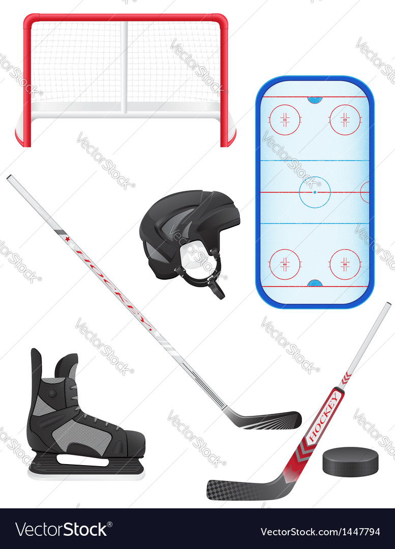 Set of hockey equipment vector