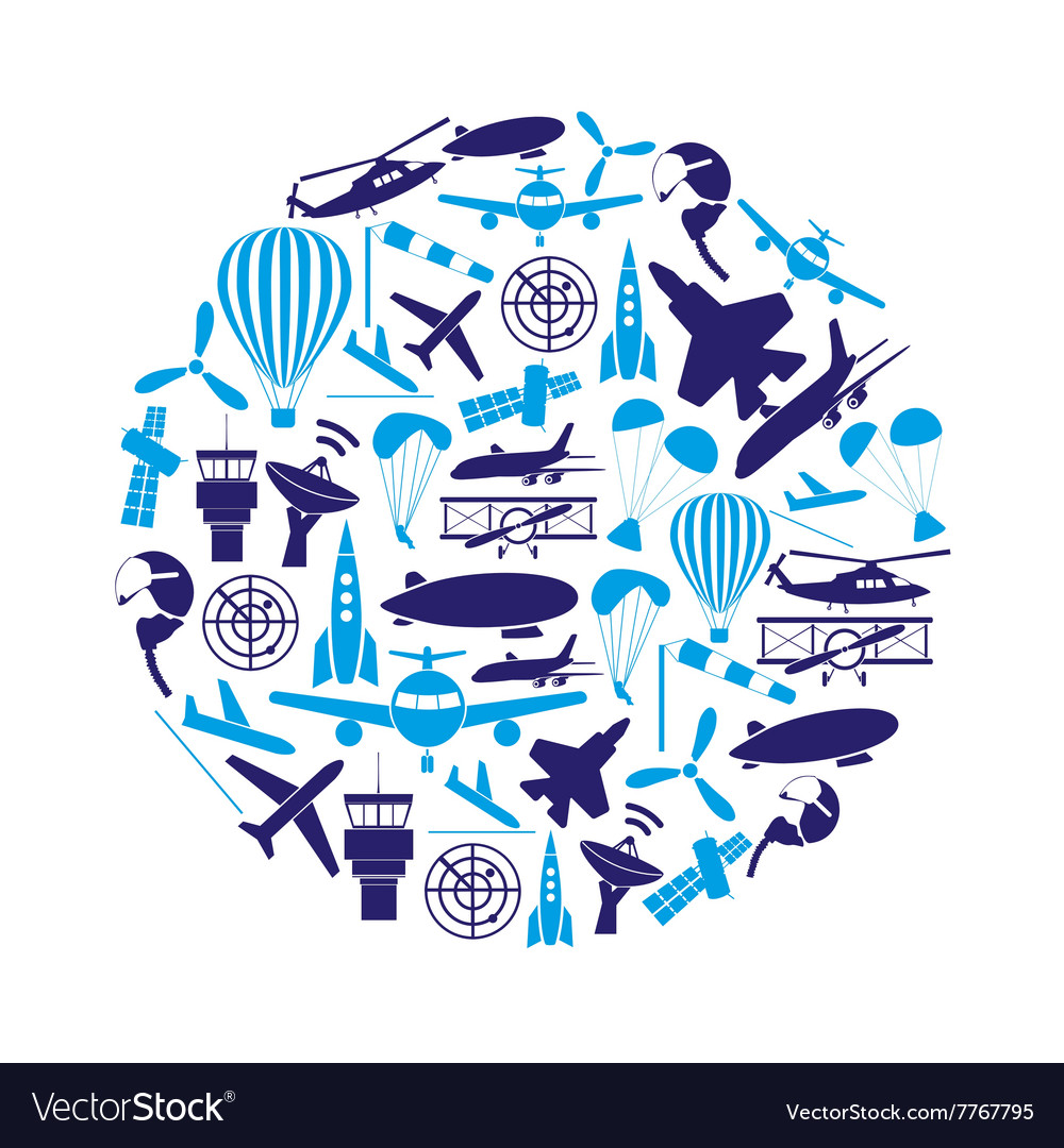 Aviation big set of blue icons in circle eps10 vector