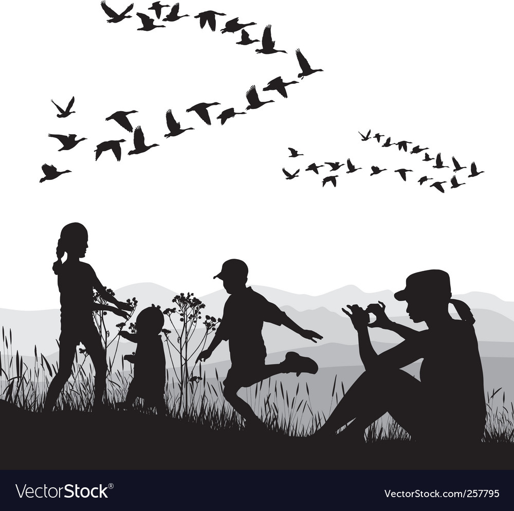 Family in the autumn country vector