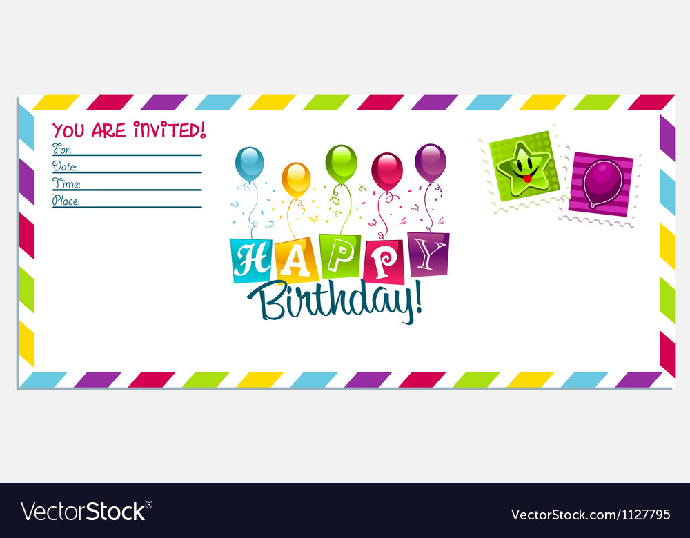 Happy birthday invitation card vector