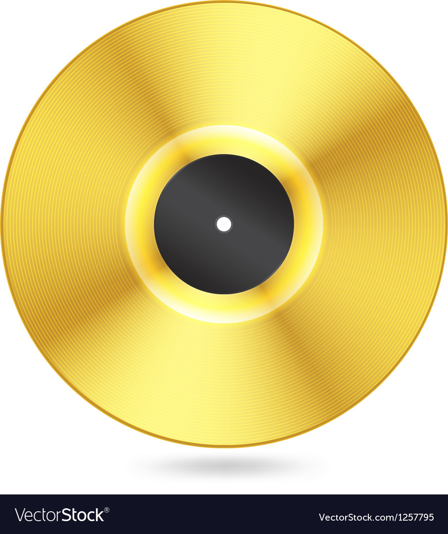 Realistic golden vinyl disc vector