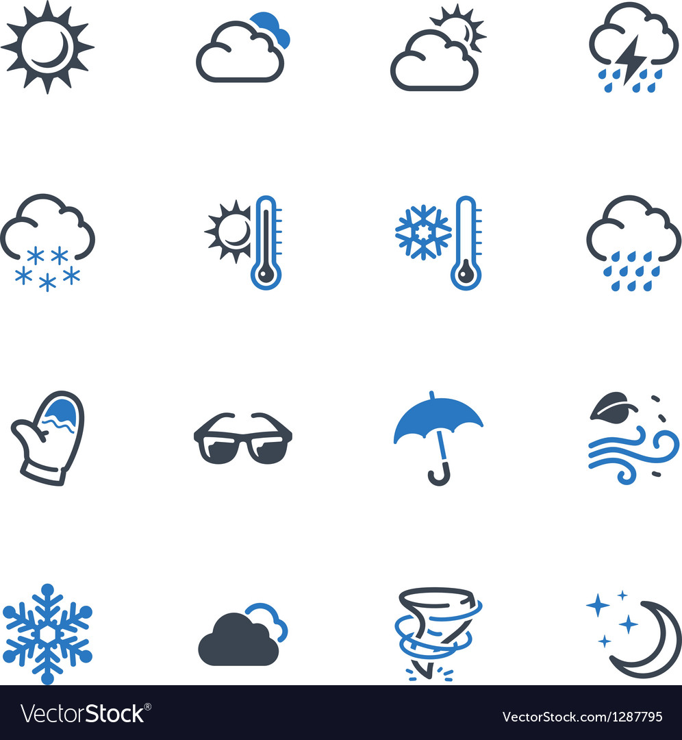 Weather icons  blue series vector