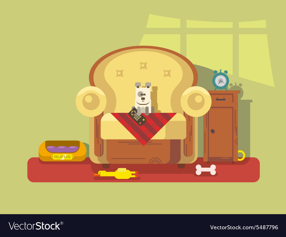 Pet sitting in chair vector