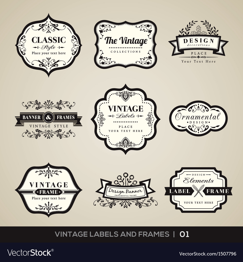 Vintage labels and frames design elements vector