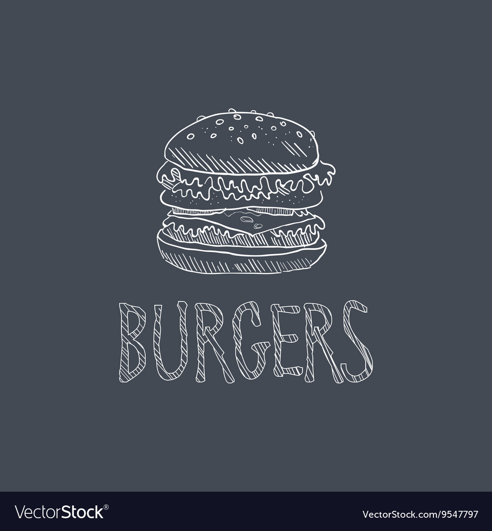 Burger sketch style chalk on blackboard menu item vector