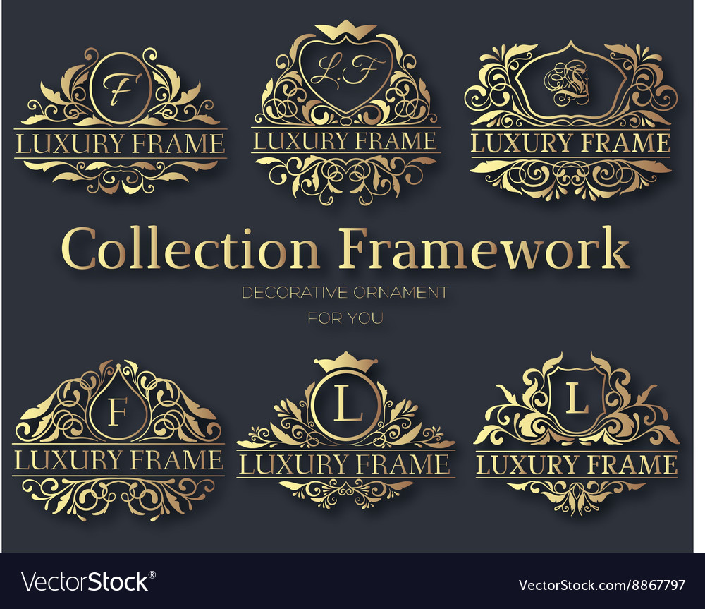 Luxury gold label collection design set vector