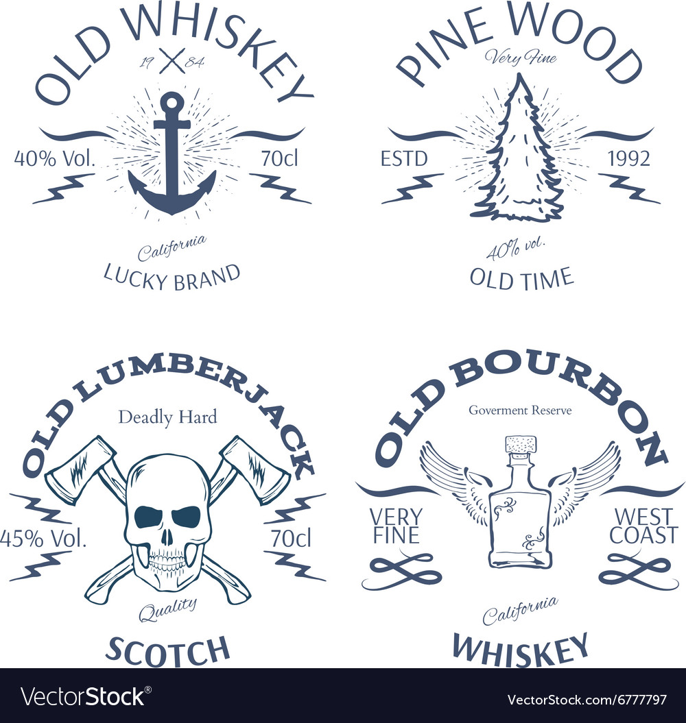 Vintage style whisky label design vector