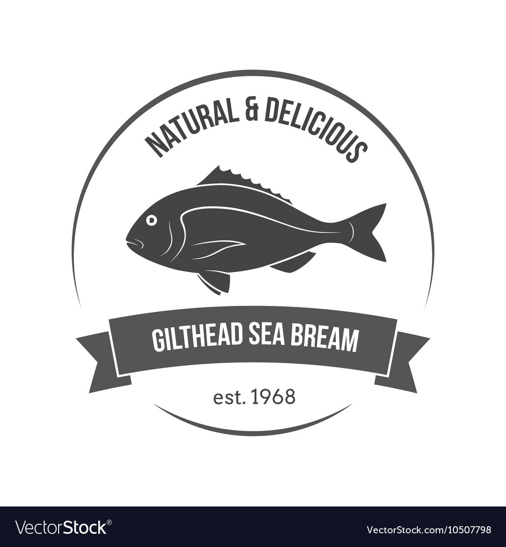 Gilthead sea bream label vector