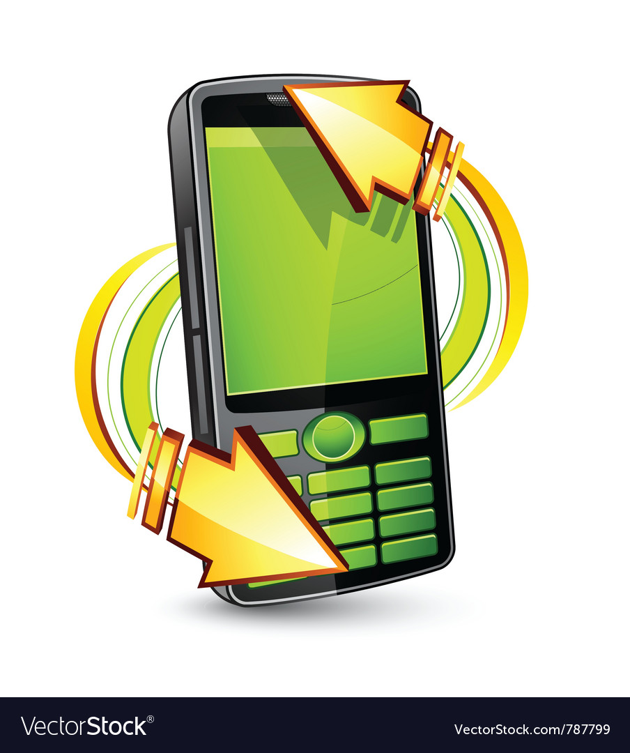 Cellphone with arrows vector