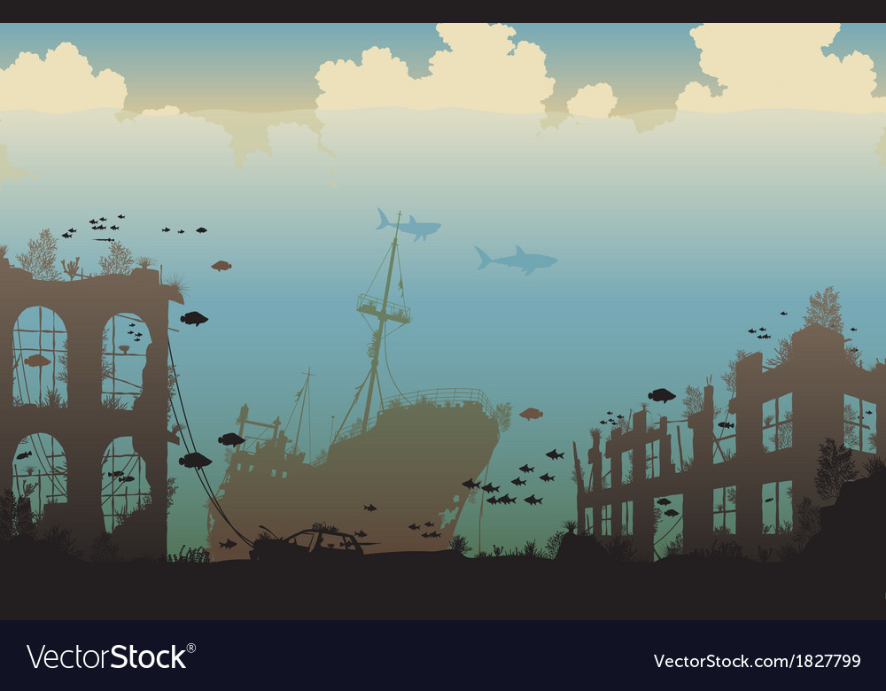 Ocean wreckage vector