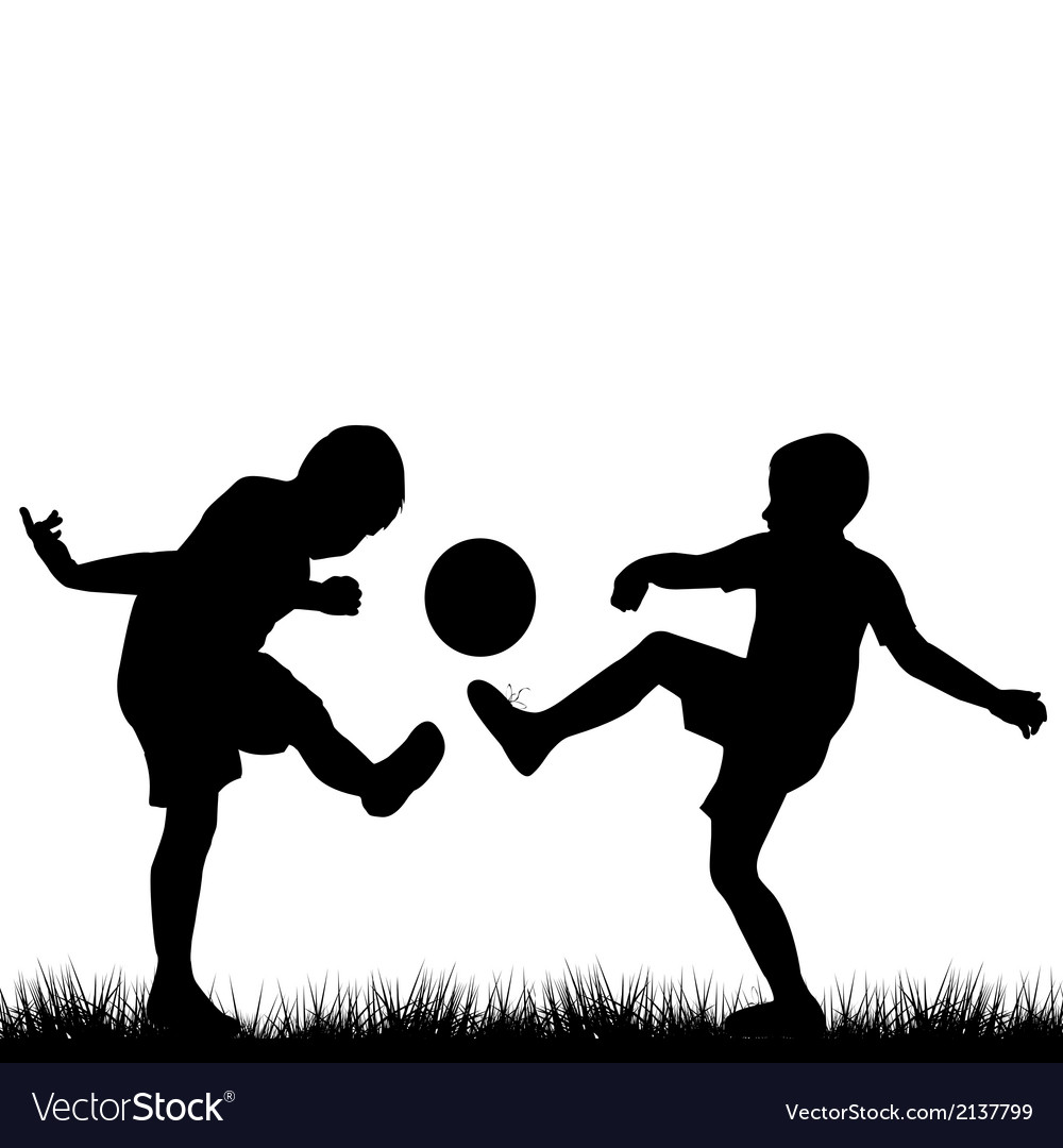 Silhouettes of children playing football vector