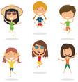 happy cartoon girls jumping vector image vector image