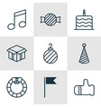 set of 9 happy new year icons includes vector image