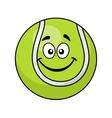 Smiling green cartoon tennis ball vector image vector image