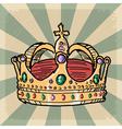 vintage grunge background with crown vector image