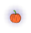 Pumpkin icon in comics style vector image