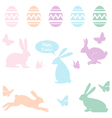 Easter bunnies and eggs set vector image