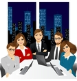 five businesspeople at office in the evening vector image