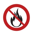 prohibited sign road flame fire danger hot vector image