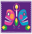 skulls with flowers 2 vector image