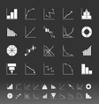 Set of diagram and graph icons on gray background vector image vector image