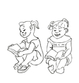 Small Girls sitting and reading a book vector image