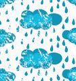 Rough brush blue rainy clouds vector image