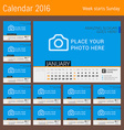 Calendar Template for 2016 Year Design Calendar vector image
