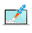Rocket and laptop vector image