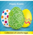 Greeting card with colorful textured eggs vector image vector image