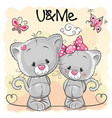 two cute kittens vector image