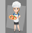 chef woman holding tasty italian pizza cute vector image