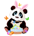 Cute Panda with Easter basket vector image