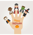 HalloweenNew2Finger monsters halloween vector image