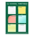 school timetable green pencil vector image
