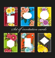 Set of invitation cards with colorful flowers vector image