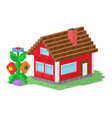 cute colorful flat style house village pixel art vector image