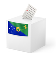 Ballot box with voting paper Christmas Island vector image vector image