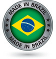 Made in Brazil silver label with flag vector image