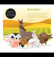 Cute animal family background with farm animals 1 vector image