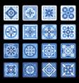 blue portuguese ceramic mosaic tile floral set vector image