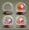 christmas snow globe with santa claus and gifts vector image