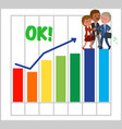 happy teamwork with good bar chart vector image