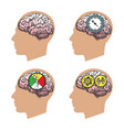 man head silhouette with brain vector image