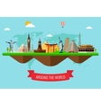 Travel and Tourism Background with Famous World vector image