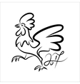 Rooster black line art sketch of cock vector image