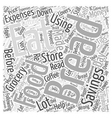 SM Money savings on food Word Cloud Concept vector image
