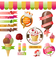 stylized ice cream icons vector image vector image